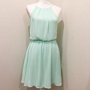 LUSH Mint Blouson Halter Spring Summer Sheer Dress
